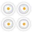set of delicious fried eggs on plates for vector image vector image