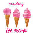set of pink ice cream with strawberry of vector image