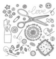 set of sewing tools template for needlework vector image