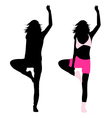 silhouette girl fitness vector image vector image
