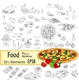 Sketch Set Pizza and Fastfood vector image vector image