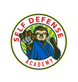 sloth karate self defense badge vector image vector image