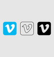 social media icon set for vimeo in different style vector image vector image