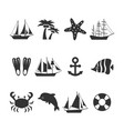 summer sea vacation icons set vector image
