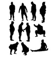Sumo Activity Silhouettes vector image vector image