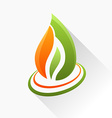 symbol fire Orange and green flame glass icon with vector image vector image