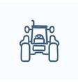 Tractor sketch icon vector image vector image