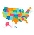 united states - bright colors political map vector image vector image