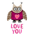 valentine s day greeting card with owl vector image vector image