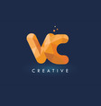 vc letter with origami triangles logo creative vector image vector image