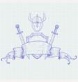 warrior accessories shield swords helmet hand vector image vector image