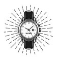 watch with rays monochrome vector image vector image
