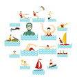 water sport set flat icons vector image vector image