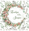 wedding invitation wreath with flowers and leaves vector image vector image