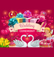 wedding party ceremony marriage gifts and hearts vector image vector image