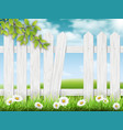 white wooden fence with broken plank vector image