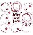 wine ring set of wine stains vector image vector image