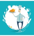 chef holding a tray with chicken vector image