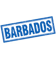 Barbados blue square grunge stamp on white vector image vector image