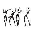 beautiful women dancing silhouettes vector image vector image