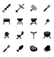 black barbecue icon set vector image vector image