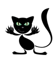 black cartoon cat vector image vector image