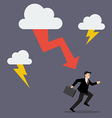 Businessman run away from thunderstorm vector image vector image