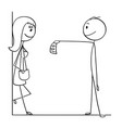 cartoon of man giving money to prostitute woman vector image vector image