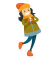 caucasian white woman playing snowball fight vector image vector image