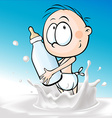 child standing and holding a bottle of milk in vector image vector image