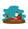 christmas santa claus with reindeer and carriage vector image vector image