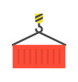 crane hook and container flat design vector image