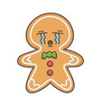 crying christmas ginger bread cookie cartoon vector image vector image