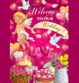 cupid with wedding cake gifts and love hearts vector image vector image