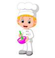 cute chefs make bread vector image