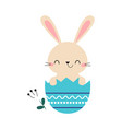 cute little bunny sitting in eggshell adorable vector image vector image