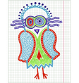 doodle owl marker hand draw vector image vector image