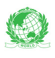 earth green globe in laurel wreath vector image vector image