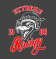 extreme racing emblem template with cartoon racer vector image