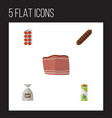 flat icon food set of beef tomato packet vector image vector image