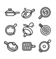 griddle icon set outline style vector image
