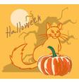 Halloween pumpkin with cat and tree vector image vector image