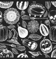 halloween seamless pattern hand drawn on chalk vector image vector image
