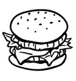 hamburger line drawing vector image vector image