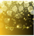 Happy New Year Golden Lights Background Snowflakes vector image vector image