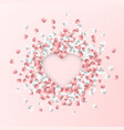 happy valentines day background pink and white vector image