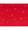 hearts on thread red background vector image vector image