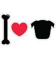 I love pugs in black plain vector image vector image