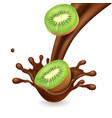 kiwi fruit in chocolate splash vector image vector image