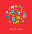 merry christmas round concept poster with text vector image vector image